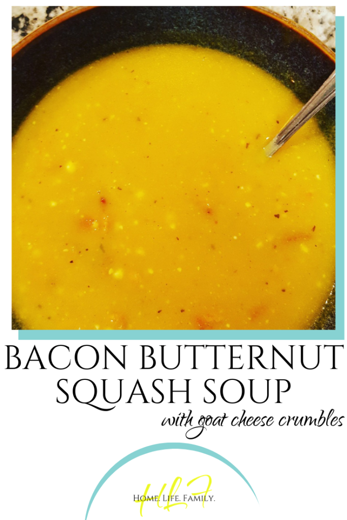 Bacon Butternut Squash Soup with Goat Cheese Crumbles